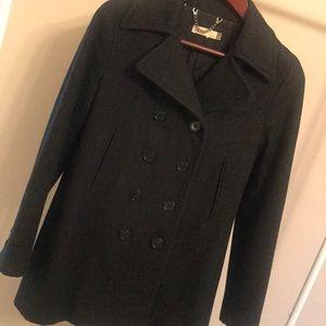 J Crew Heather Grey Wool Coat - Size Petite Small
